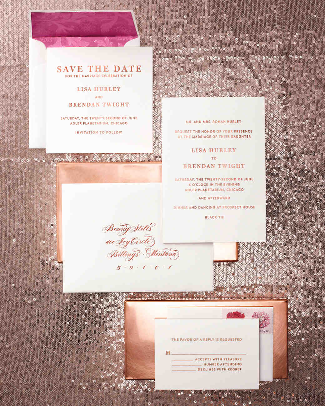 39 glamorous metallic stationery suites martha stewart weddings - Invitation Card Stock