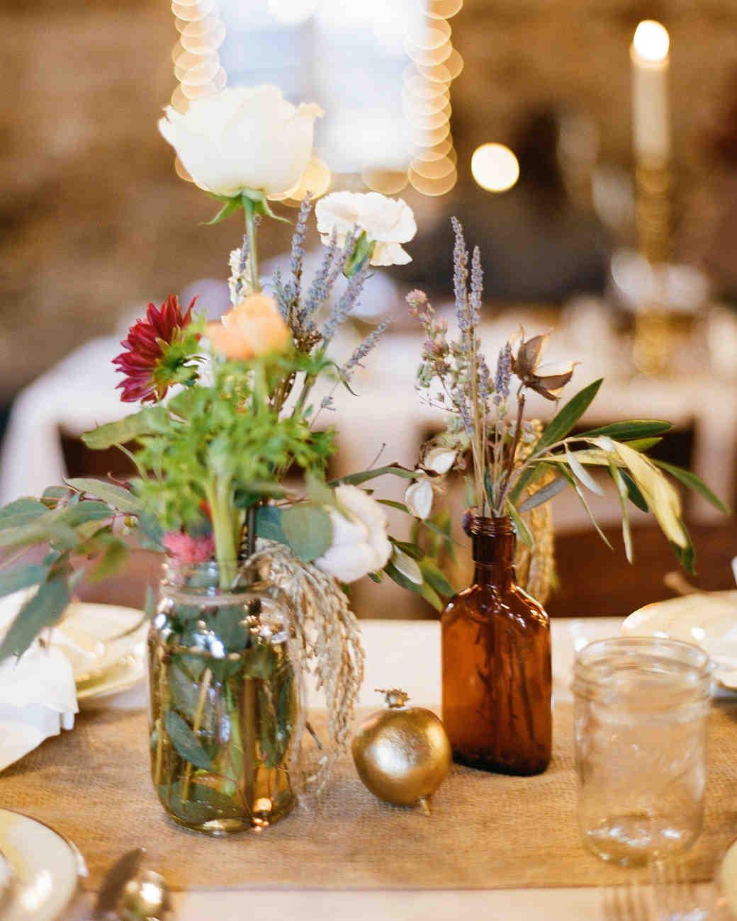 mismatched wedding centerpieces