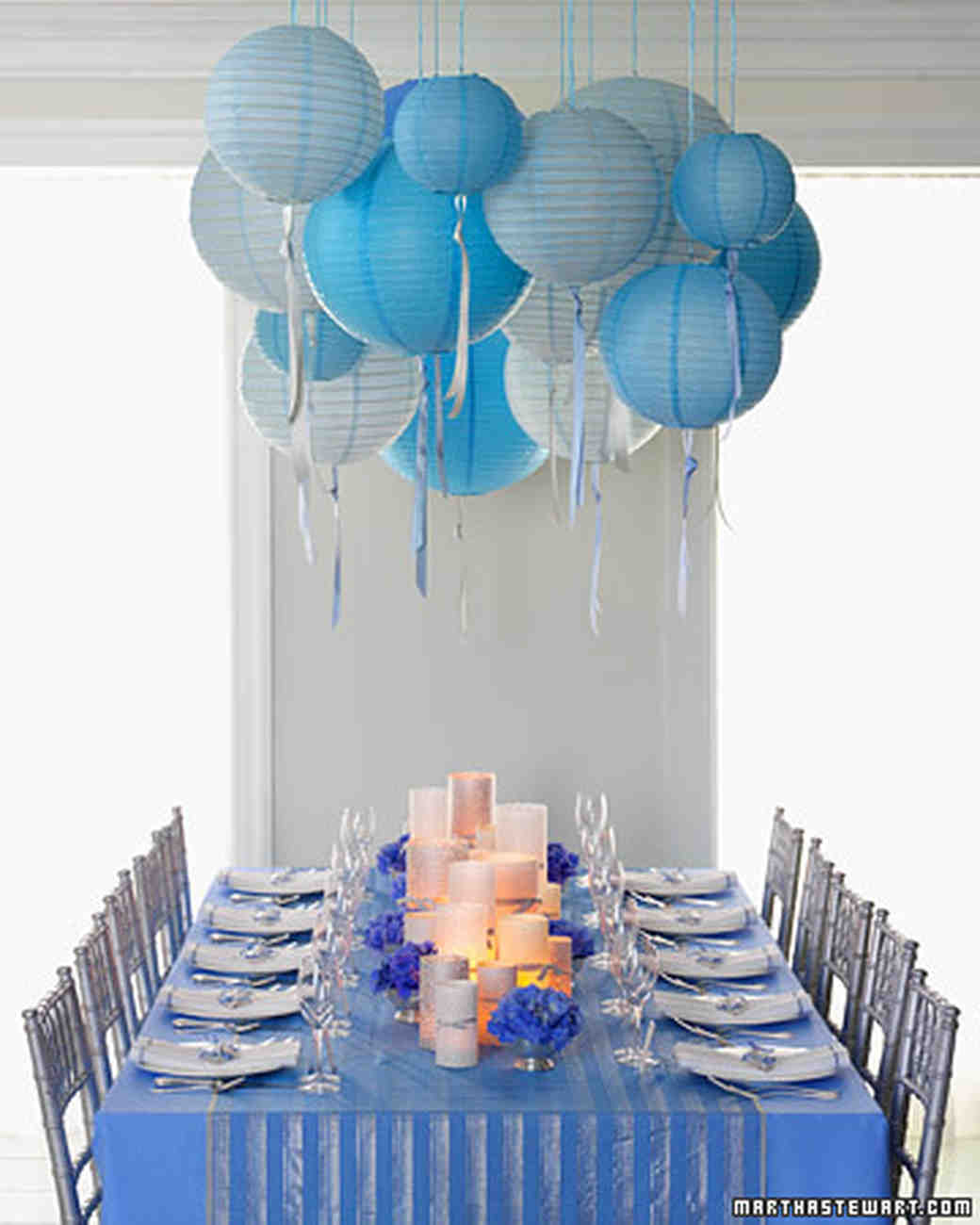 Festive Tablescape & 22 Blue Bridal Shower Ideas That are So Cool | Martha Stewart Weddings