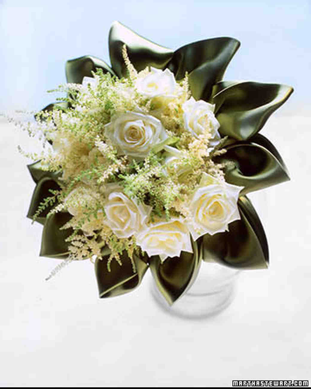 Green wedding bouquets martha stewart weddings alabaster tea rose bouquet mightylinksfo