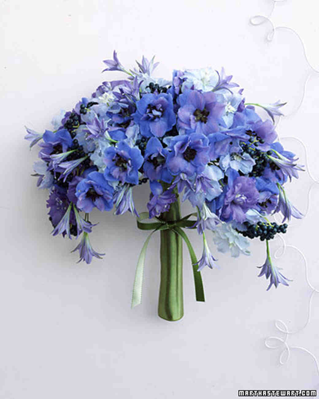 Blue and lavender wedding flowers martha stewart weddings hand wired wedding bouquet dhlflorist Image collections