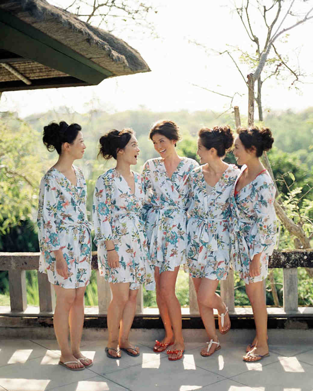 bride and bridesmaids in robe
