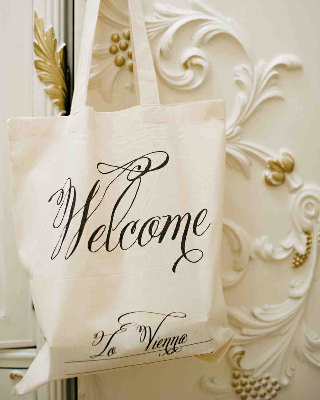 calligraphed welcome tote