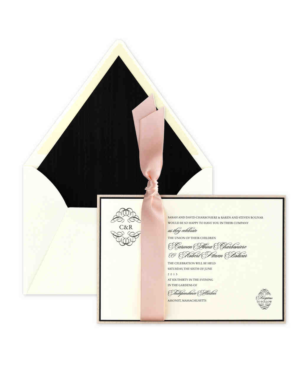 black and pink wedding invitation