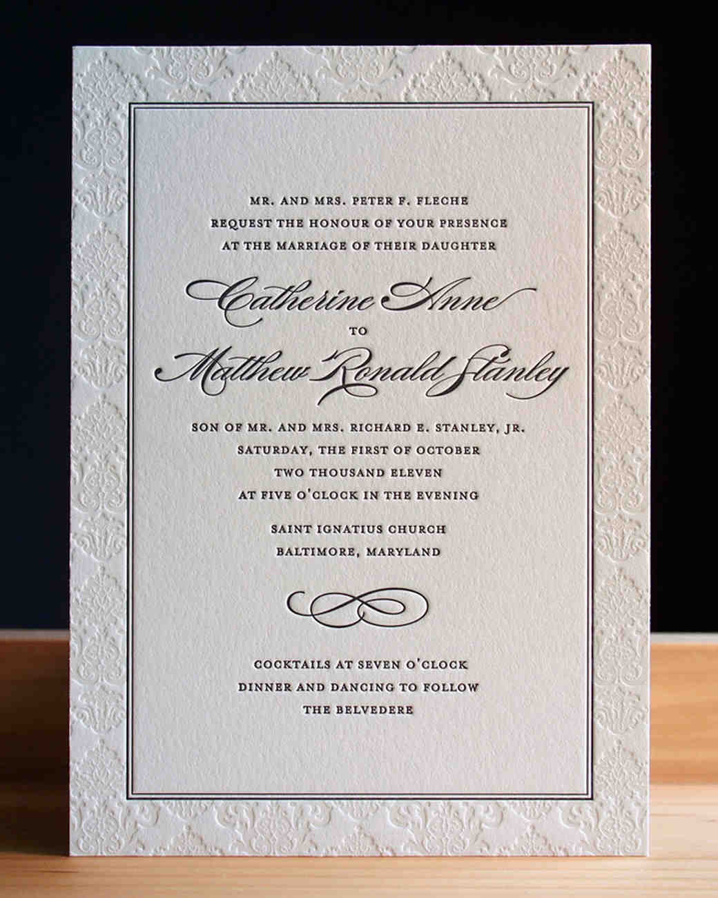letterpress border wedding invitation
