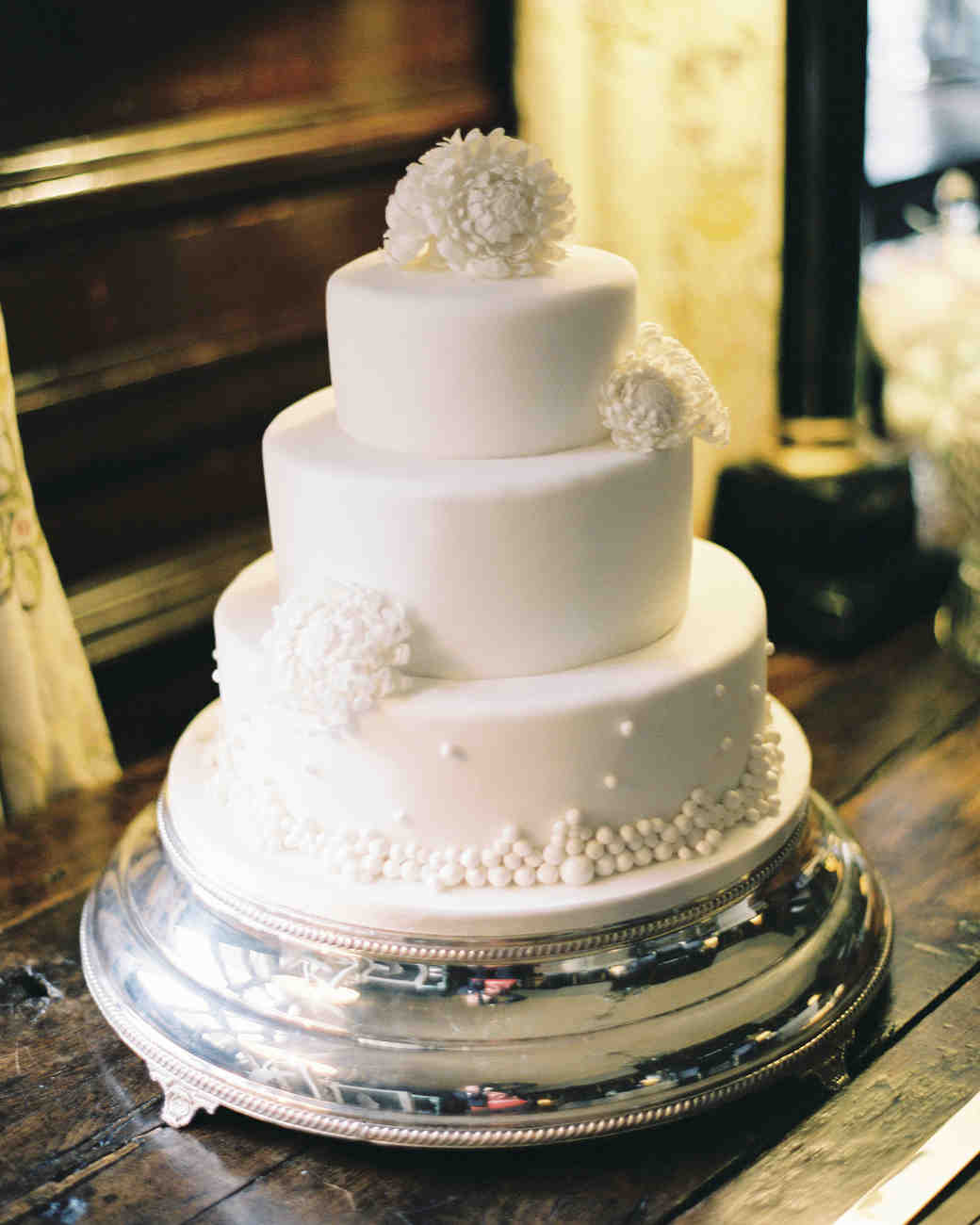 White Three-Tiered Wedding Cake