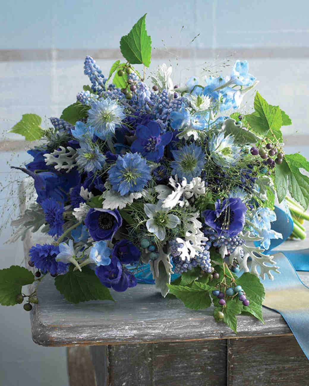 Blue wedding bouquets martha stewart weddings eclectic bouquet izmirmasajfo