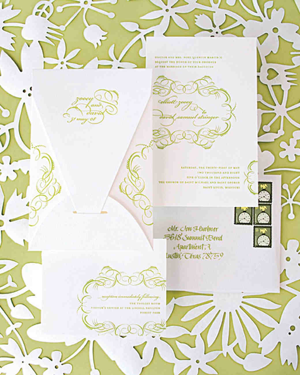 lime green wedding invitation