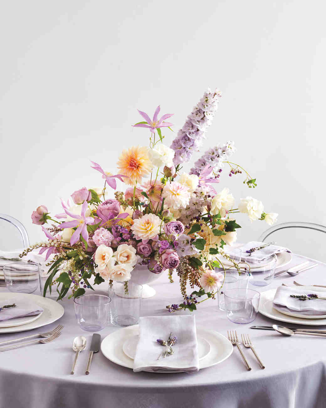 23 diy wedding centerpieces we love martha stewart weddings purple and orange floral centerpiece solutioingenieria Image collections