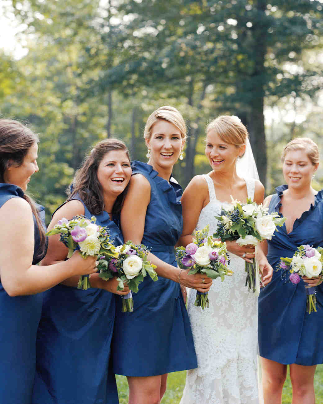 Bridesmaids from real weddings martha stewart weddings navy maids ombrellifo Gallery