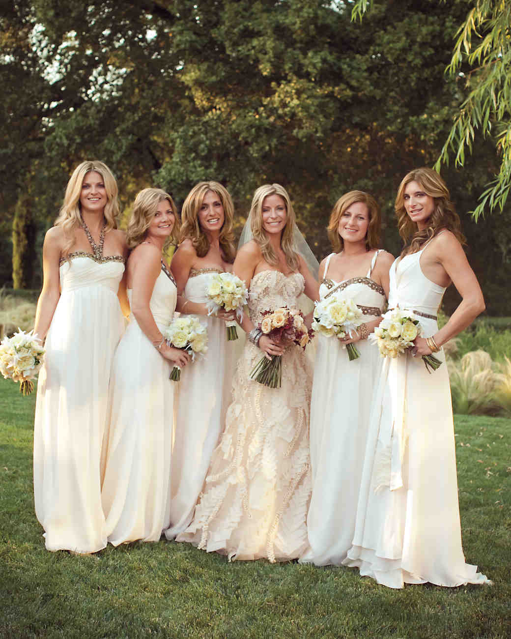10 bridal parties wearing white at real weddings martha stewart floor length gowns ombrellifo Choice Image