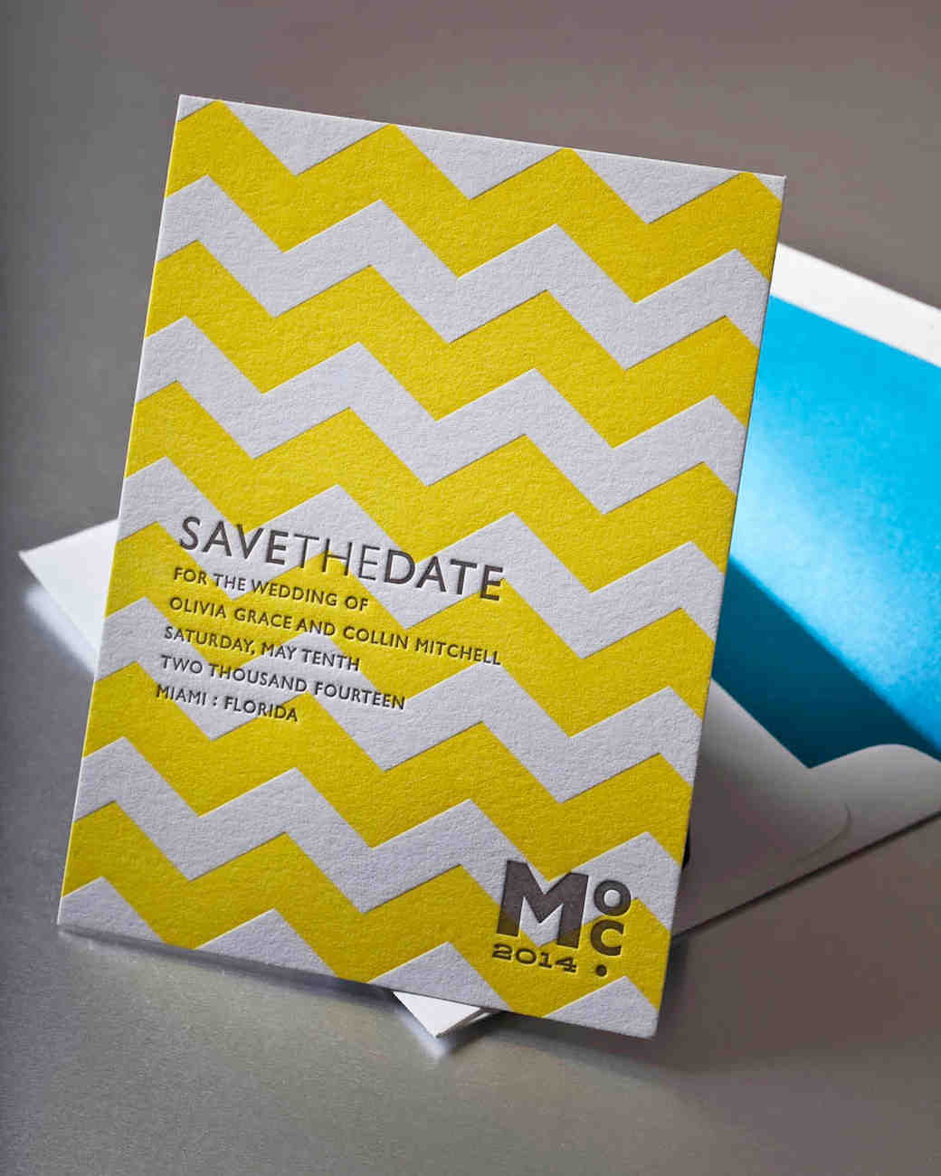 yellow chevron save-the-date