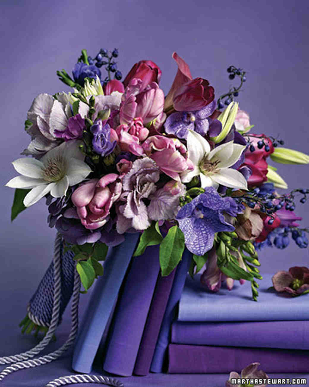 Purple wedding bouquets martha stewart weddings izmirmasajfo Images