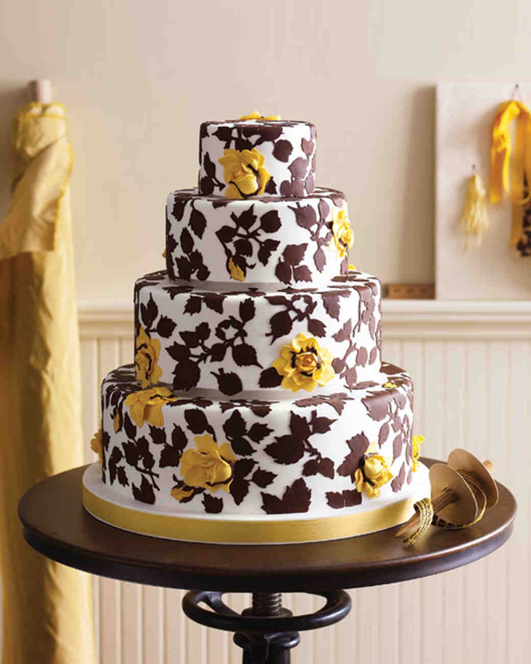 Brown, White, and Yellow Wedding Cake