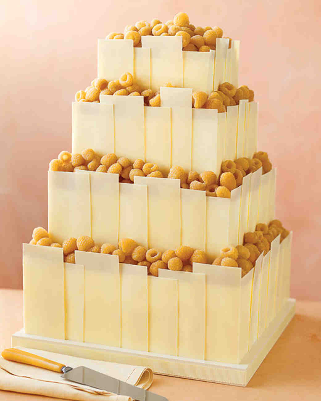 Wedding Cake Recipe.Tempered White Chocolate Panels