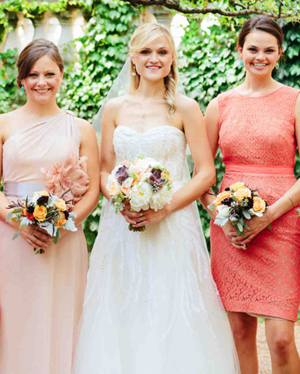 A romantic gray peach and coral wedding at an art museum in a romantic gray peach and coral wedding at an art museum in chicago martha stewart weddings ombrellifo Gallery