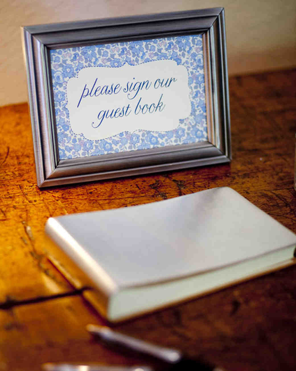 Silver Leather Guest Book