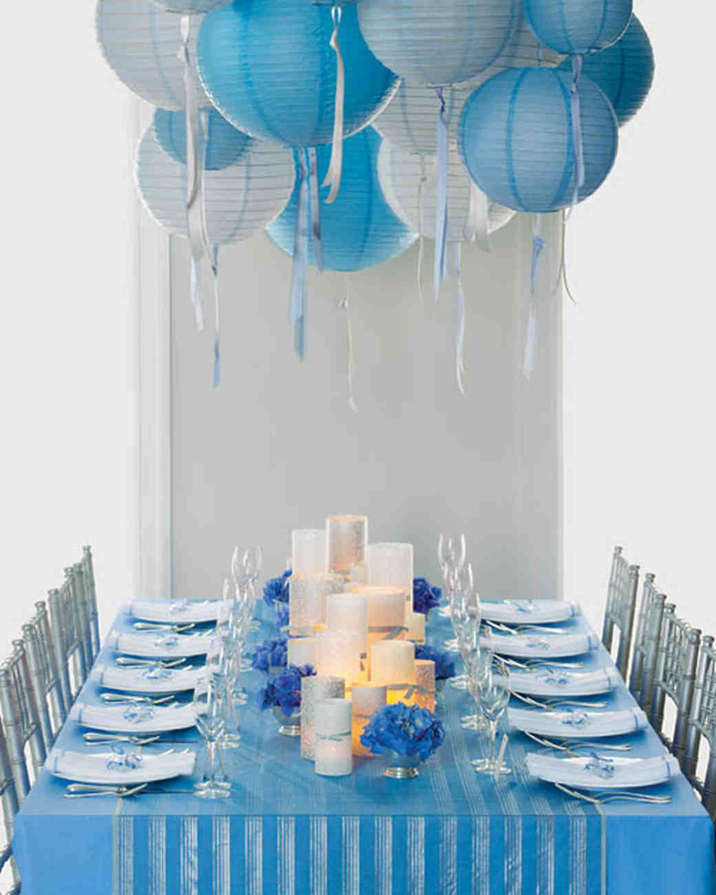 blue wedding decoration ideas. Blue and Silver Reception Table Wedding Colors  Martha Stewart Weddings