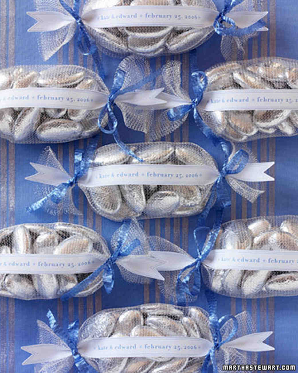 Wedding colors blue and silver martha stewart weddings blue and silver wedding favors junglespirit Image collections