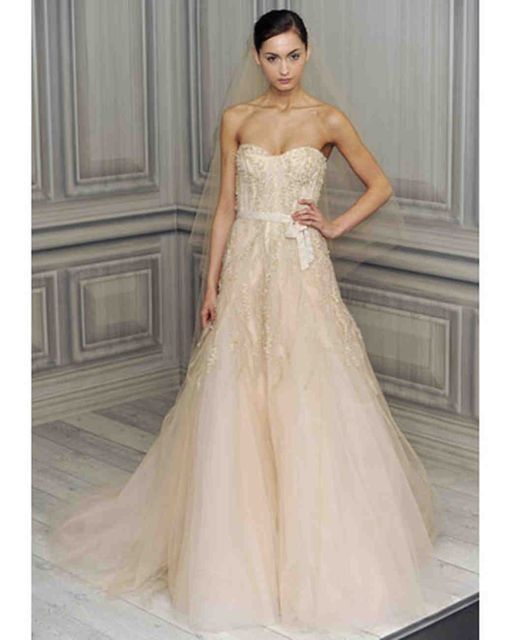 Monique Lhuillier This Blush Colored Tulle Gown