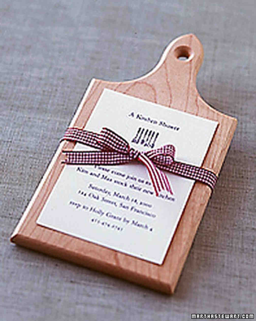 Cooking themed bridal shower martha stewart weddings cutting board shower invitations filmwisefo