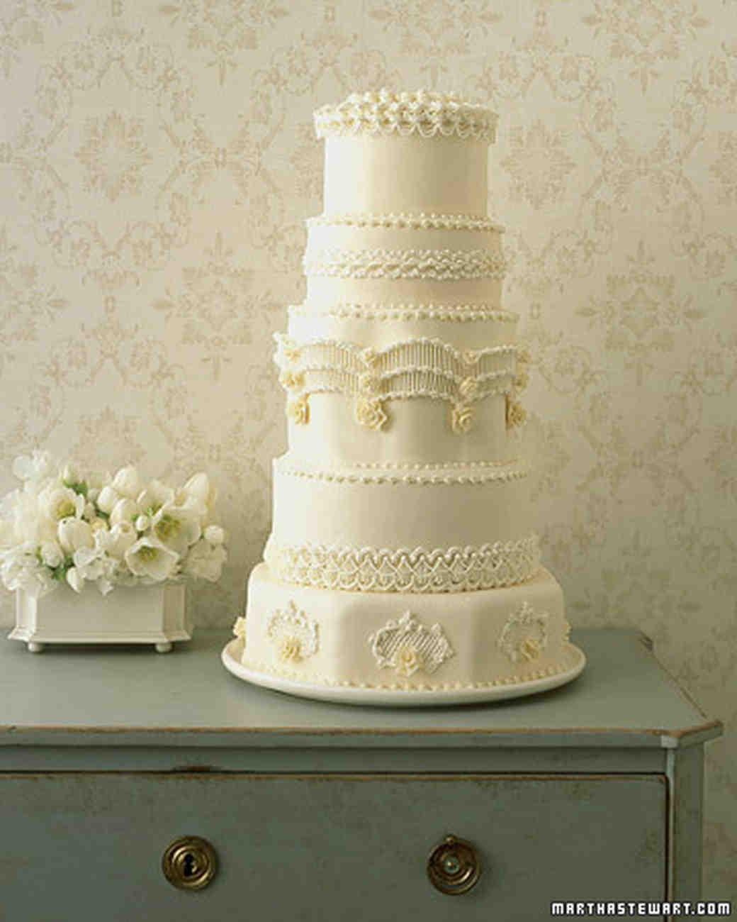 Regal Piped Wedding Cake Recipe | Martha Stewart Weddings