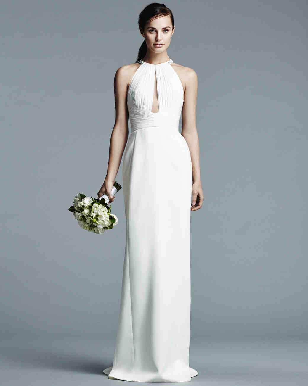 J. Mendel halter-neck wedding dress with hand pleated bodice