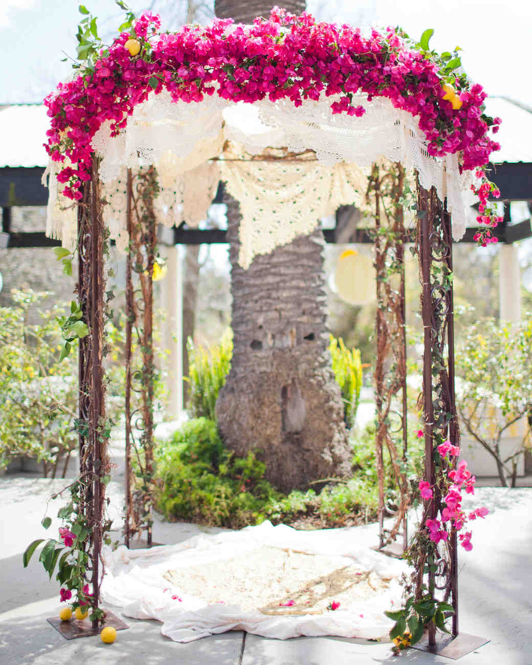 chuppah with pink flowers