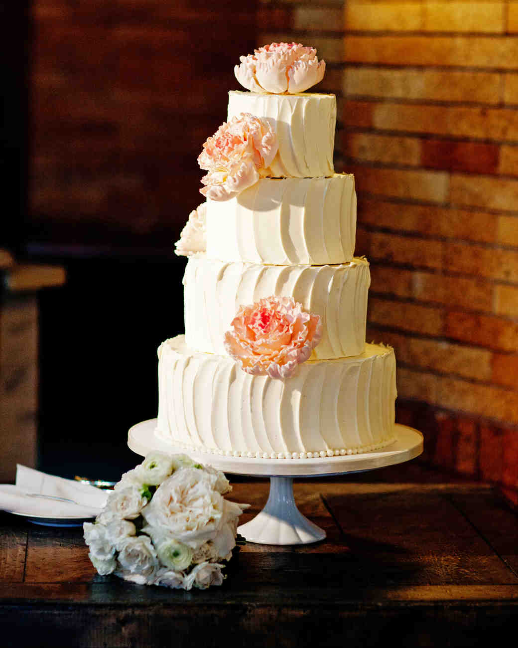 White Wedding Cake with Pink Sugar Peonies