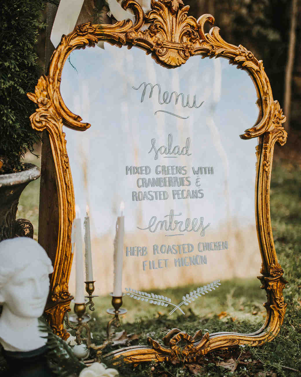 wedding menu mirror
