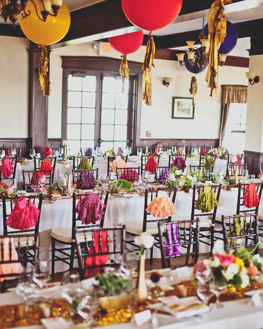 Colorful and Festive Long Reception Tables