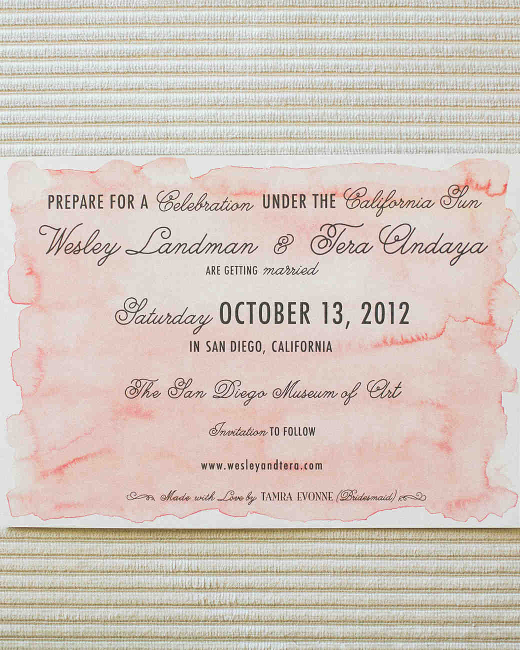 watercolor wedding save-the-date with mixed fonts