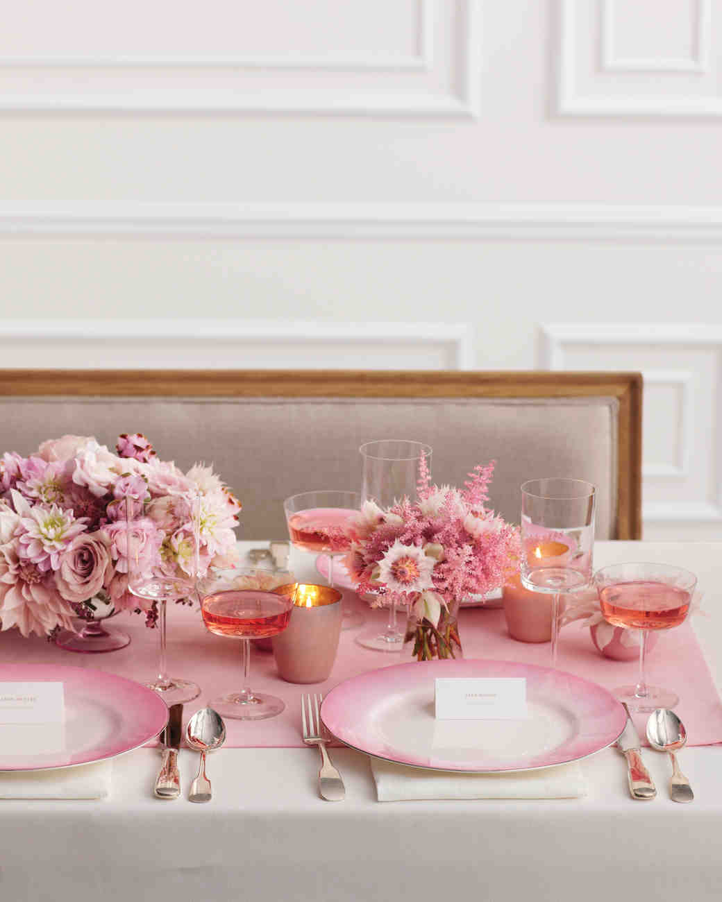 Pink bridal shower ideas and decorations we love martha stewart pink bridal shower table setting mightylinksfo Gallery