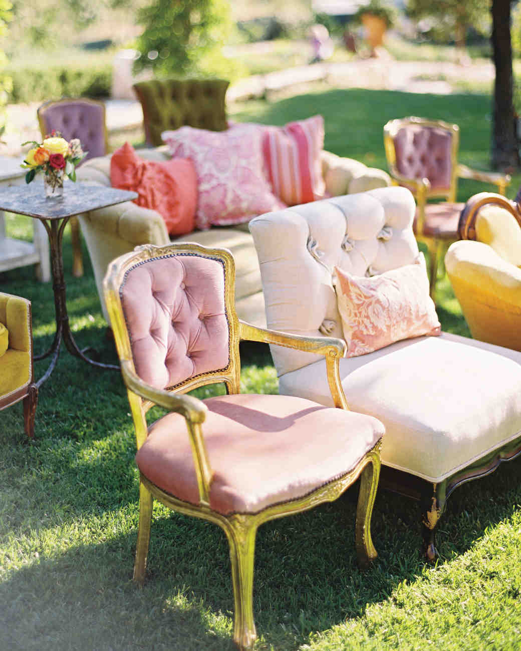vintage pink ceremony seating