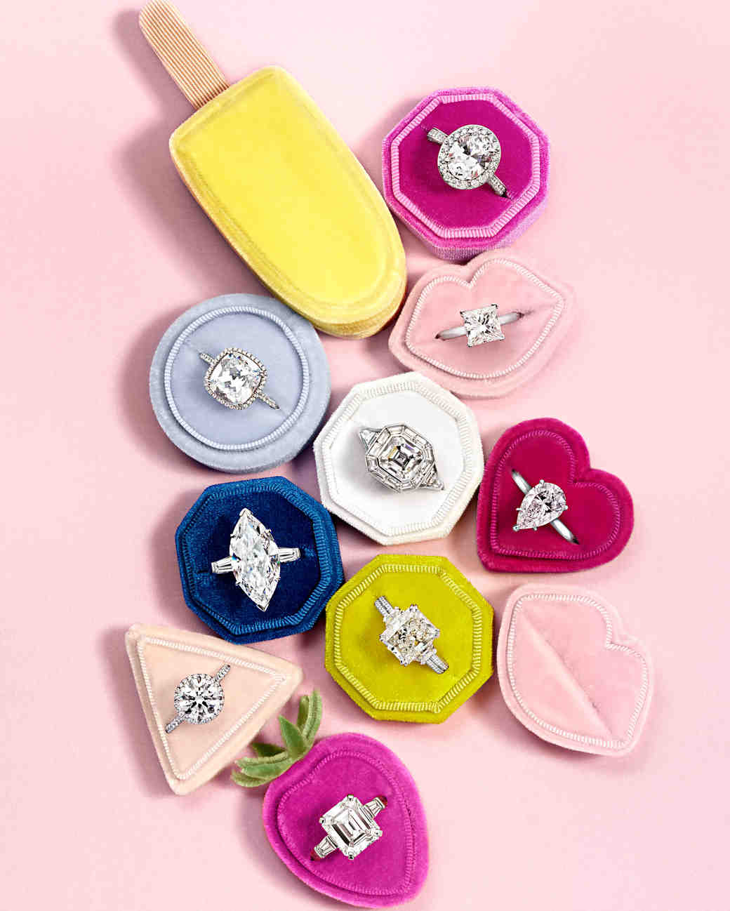 assorted rings with ring boxes
