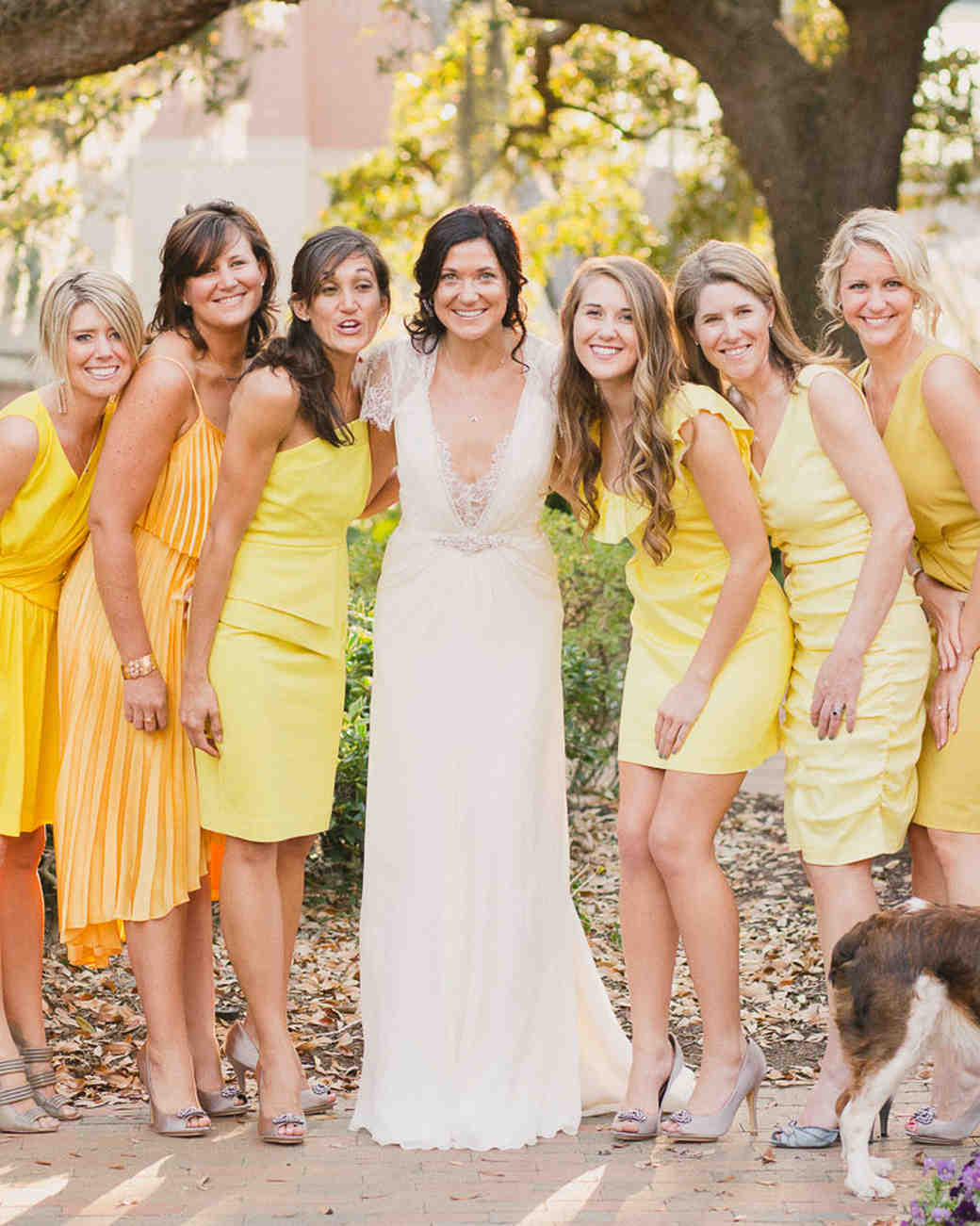 Mismatched bridesmaid dresses yellow