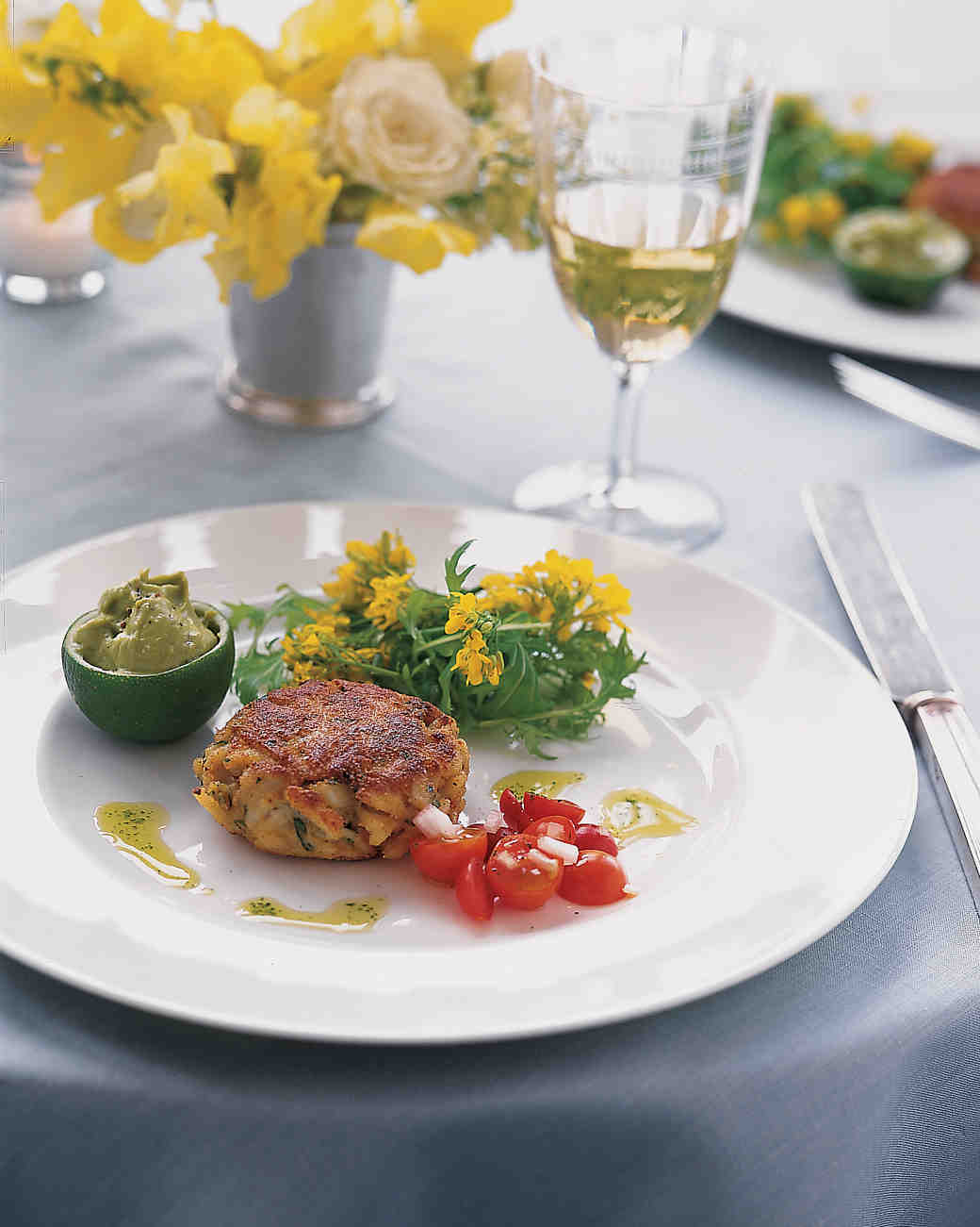 Crab Cakes with Lime-Avocado Puree