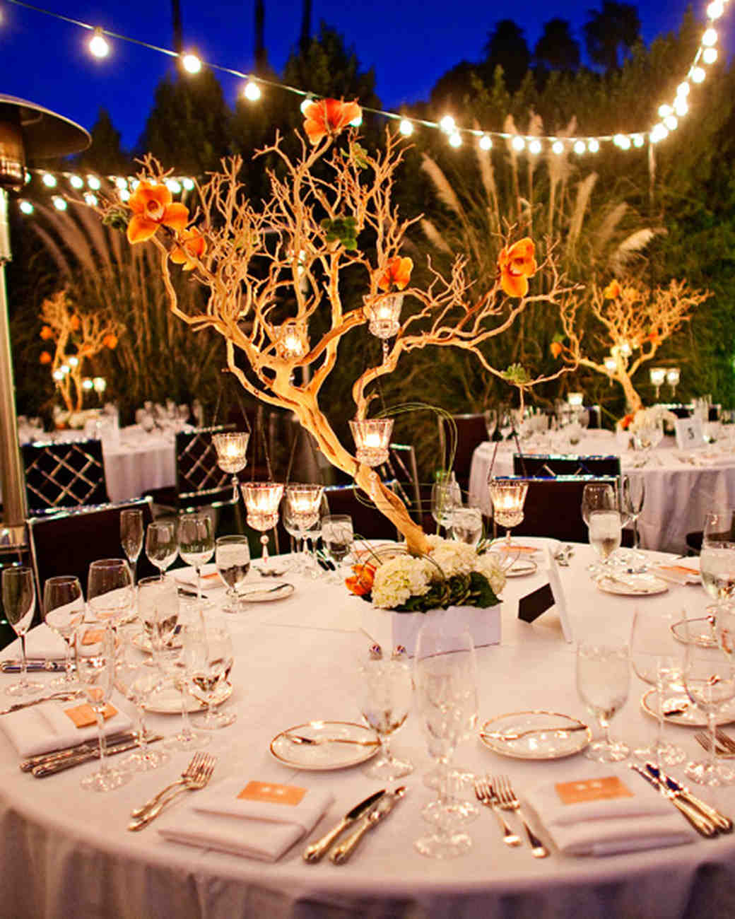 Tree Branch Centerpiece with Floating Votives