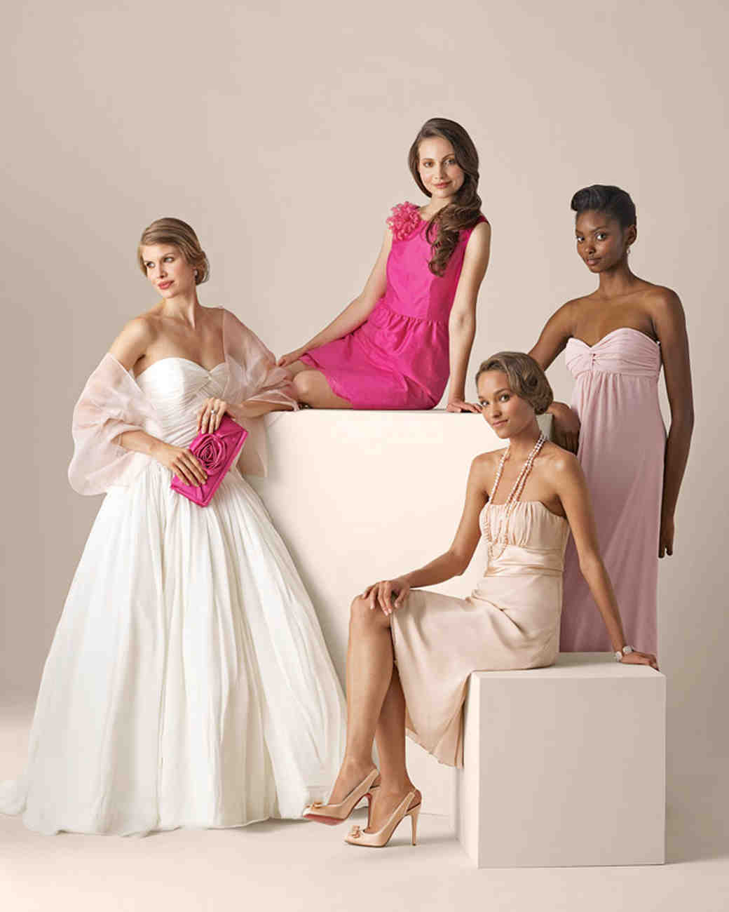 Wedding gowns and colorful bridesmaid dresses martha stewart blush to shocking pink ombrellifo Images