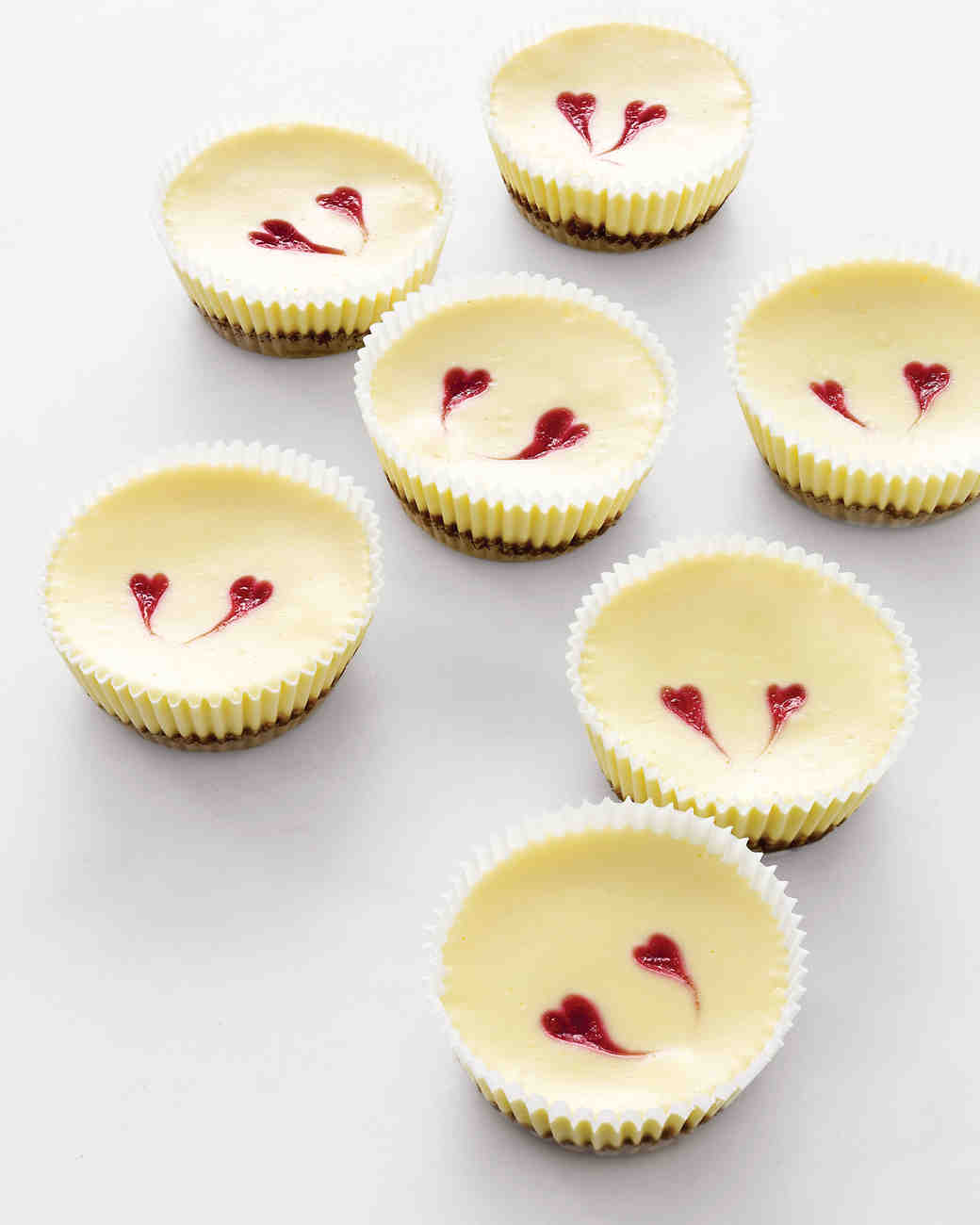Cheesecakes with Raspberry Hearts