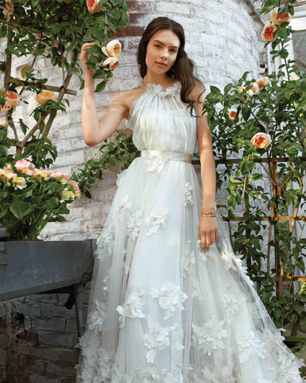 Wedding dresses inspired by flowers martha stewart weddings wedding dress with floral appliques junglespirit Choice Image