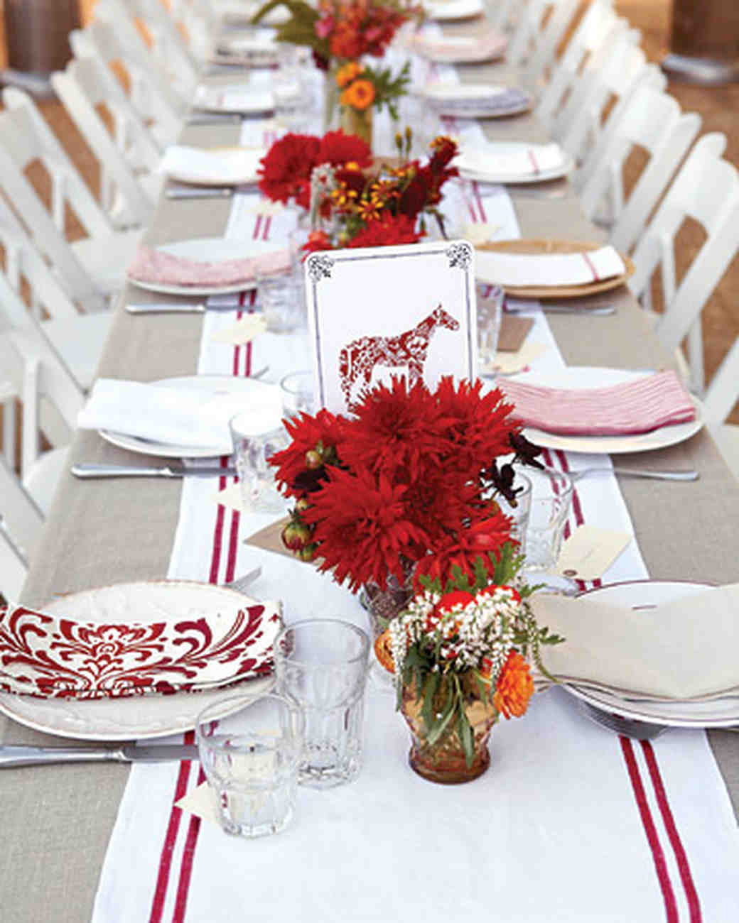 Red Wedding Reception Table Settings