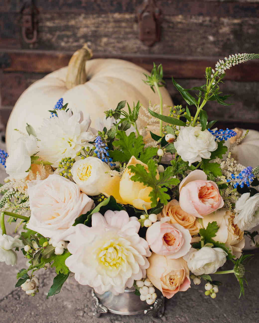 Fall Flower Arrangement and White Pumpkins