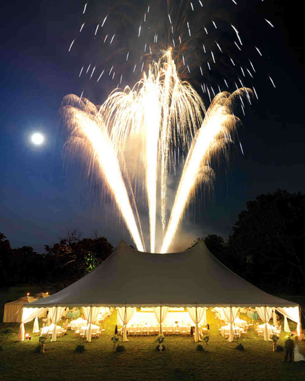 fireworks over wedding reception tent