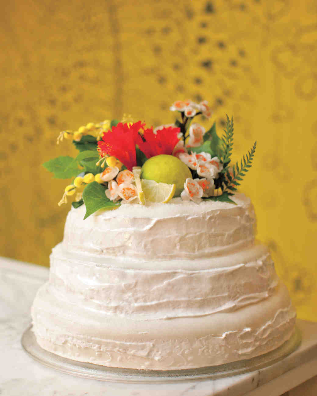 tropical buttercream wedding cake
