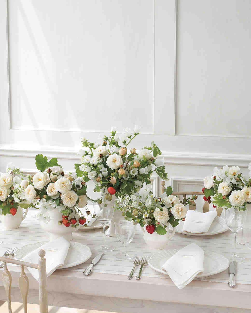 Flower and Strawberry Wedding Centerpiece