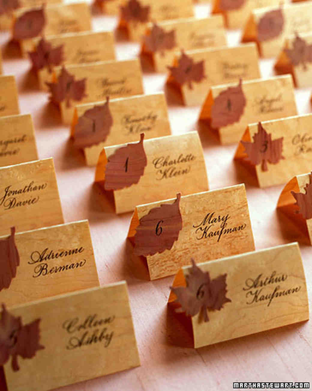 fall wedding place card holders. good things: seating displays and table numbers | martha stewart weddings fall wedding place card holders