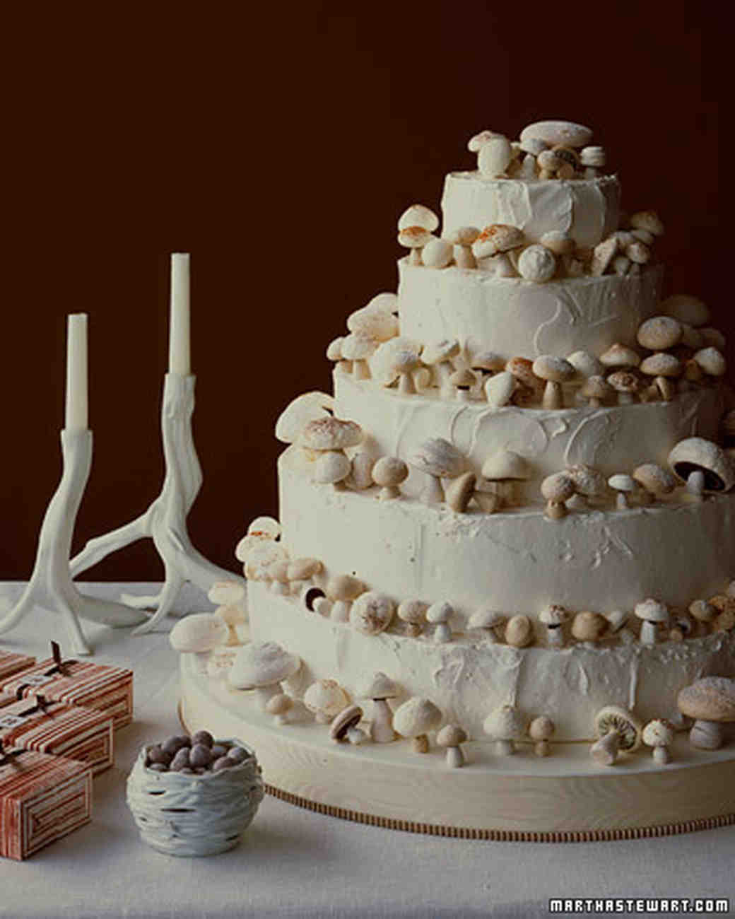 Meringue Mushrooms Wedding Cake Recipe Martha Stewart