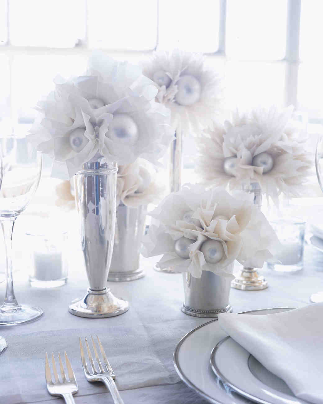 White wedding decorations and favors martha stewart weddings junglespirit Image collections