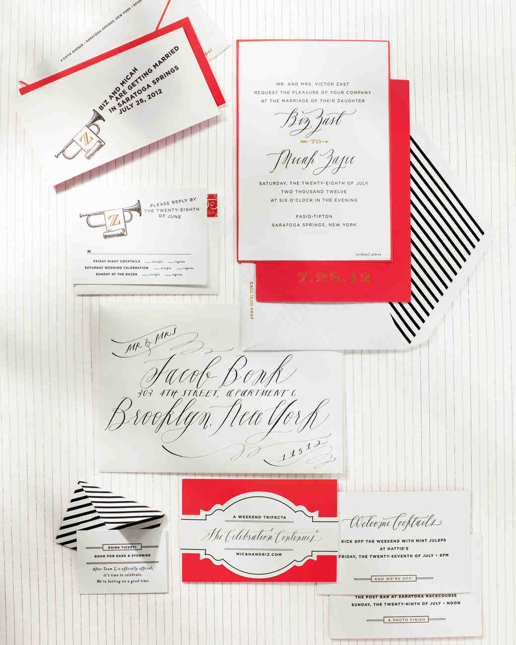 red-accented wedding invitation